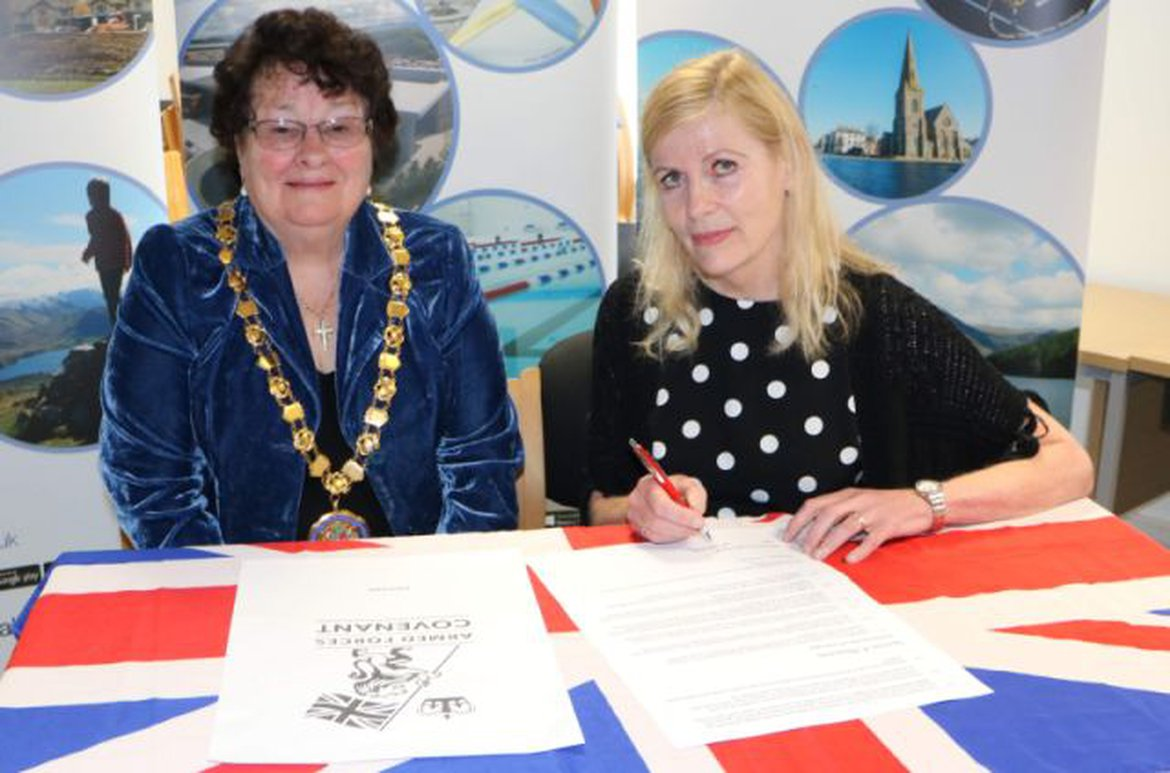 Allerdale mayor Hilary Harrington (left) and council leader Marion Fitzgerald with the Covenant