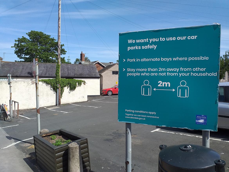 Signage in Market Hill car park, Wigton